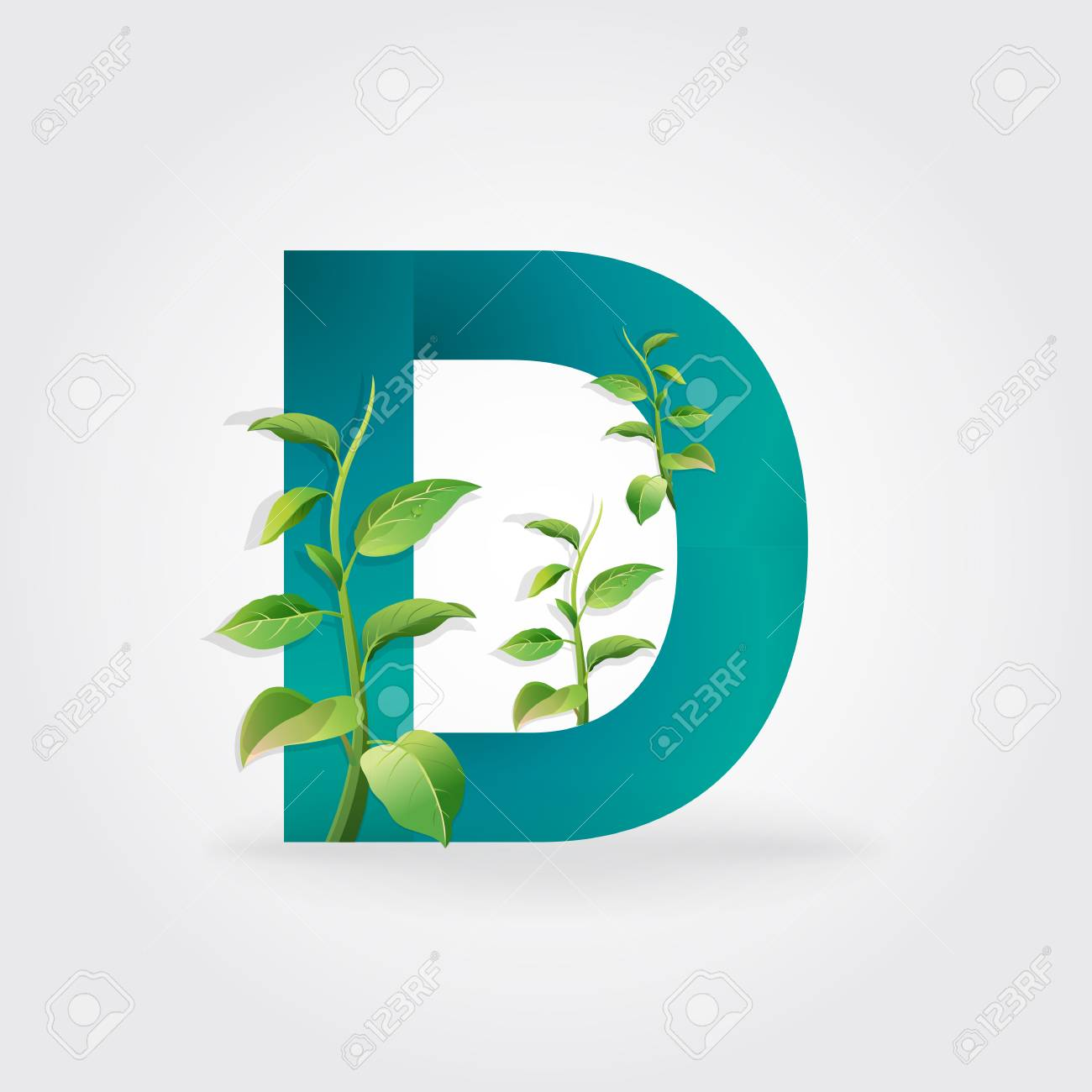 Green Eco Letters Logo With Leaves Symbol Alphabet Letter