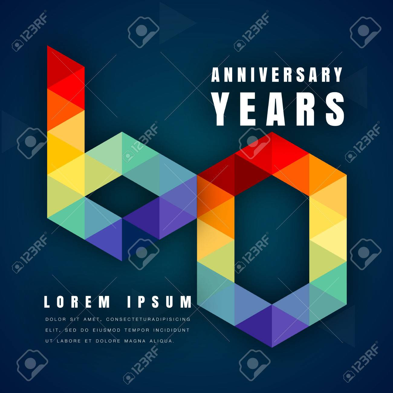Anniversary emblems celebration logo, 60th birthday vector illustration, with dark blue background, modern geometric style and colorful polygonal design. 60 anniversary template design - 66734107