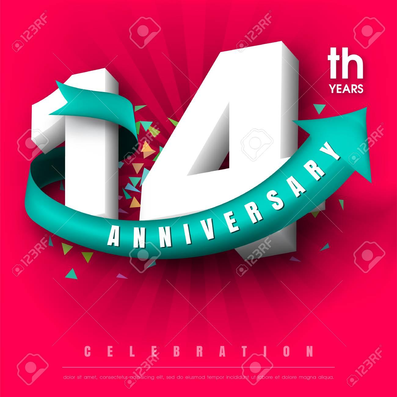 Anniversary Emblems 14 Anniversary Template Design Royalty Free