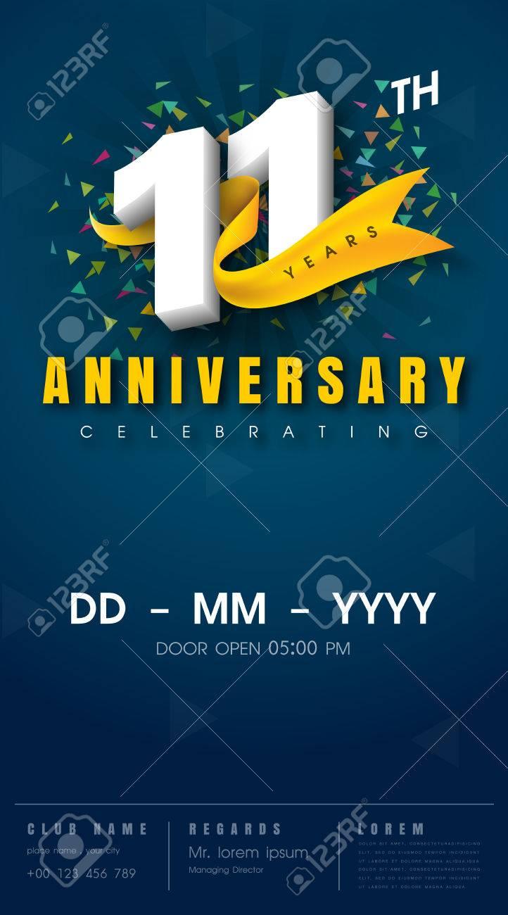 11 years anniversary invitation card - celebration template design , 11th anniversary modern design elements, dark blue background - vector illustration - 68319822