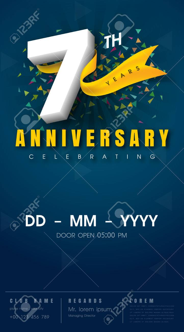 7 Years Anniversary Invitation Card - Celebration Template Design ...