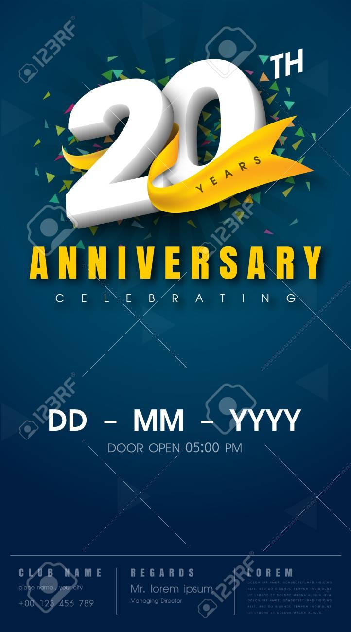 20 Years Anniversary Invitation Card Celebration Templatedesign