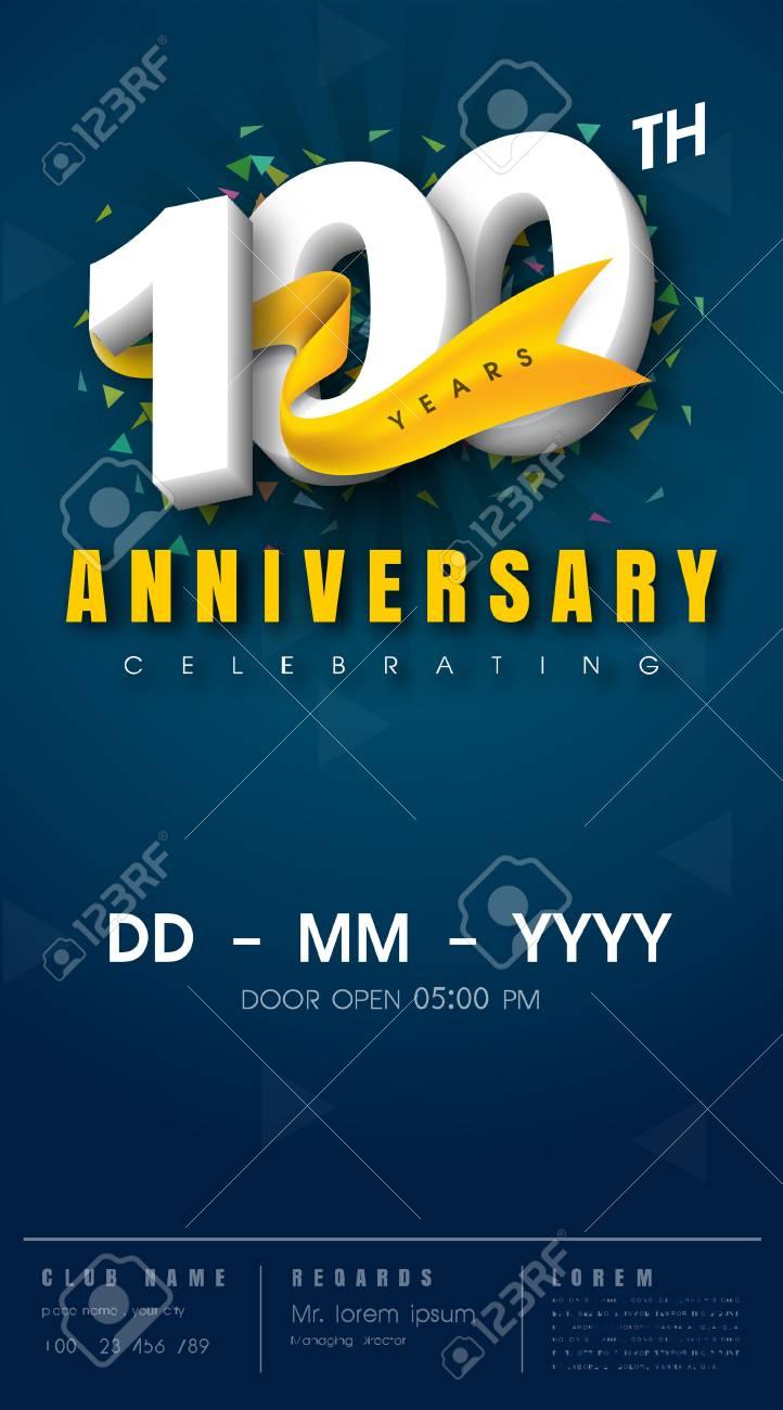 Tarjeta De Invitación De Aniversario 100 Años Diseño De Plantilla De Celebración Elementos De Diseño Moderno De 100 Aniversario Fondo Azul Oscuro