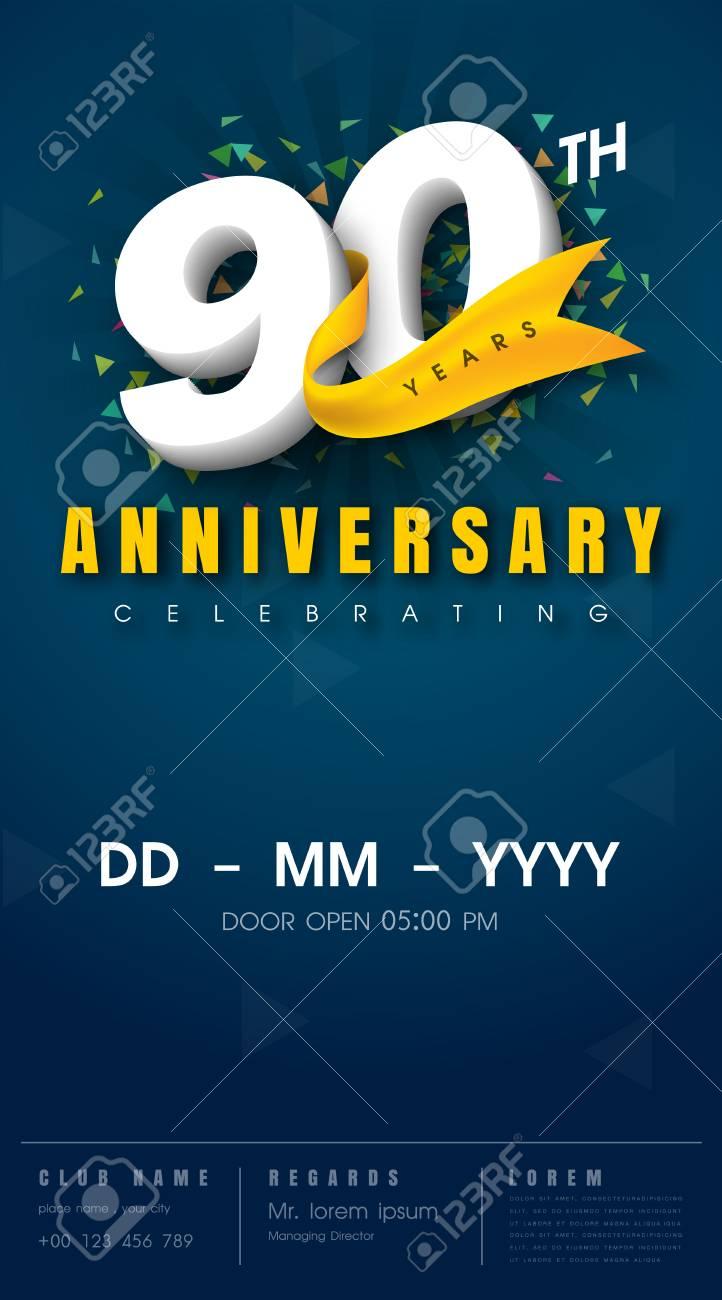 Tarjeta De Invitación De Aniversario De 90 Años Diseño De Plantilla De Celebración Elementos De Diseño Moderno De 90 Aniversario Fondo Azul Oscuro