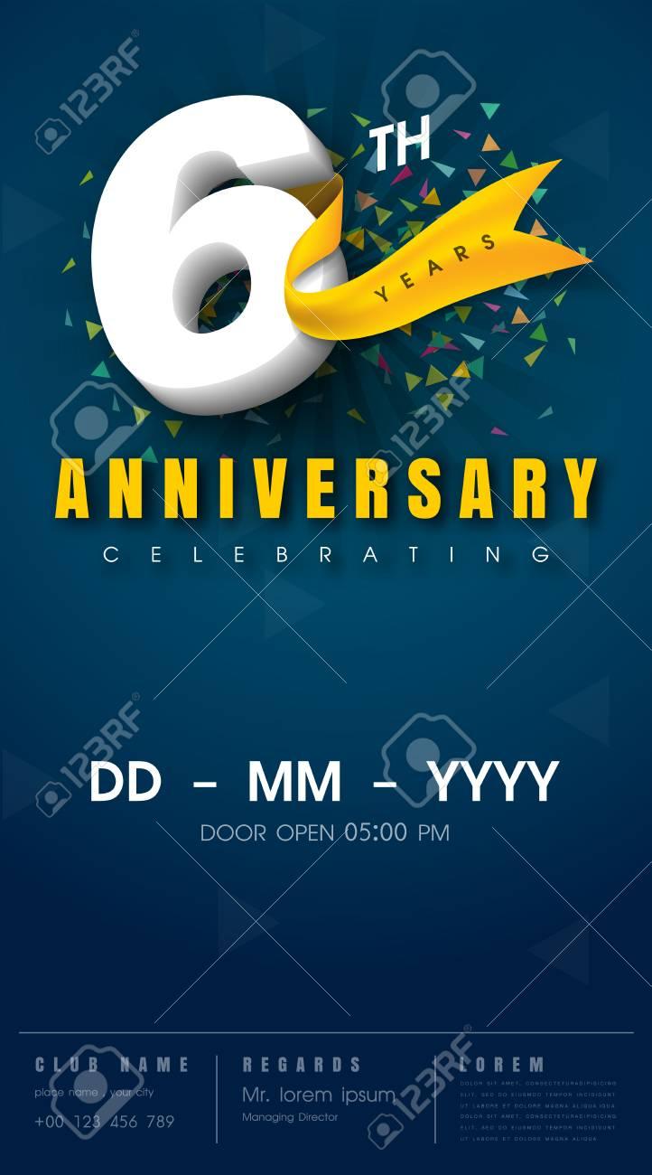 6 Years Anniversary Invitation Card Celebration Templatedesign