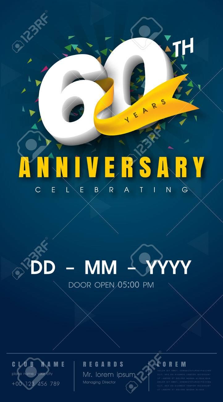 60 Years Anniversary Invitation Card