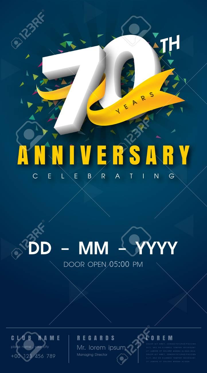 Carte D Invitation Anniversaire 70 Ans Conception De Modele De Celebration Elements De Design Moderne 70e Anniversaire Fond Bleu Fonce