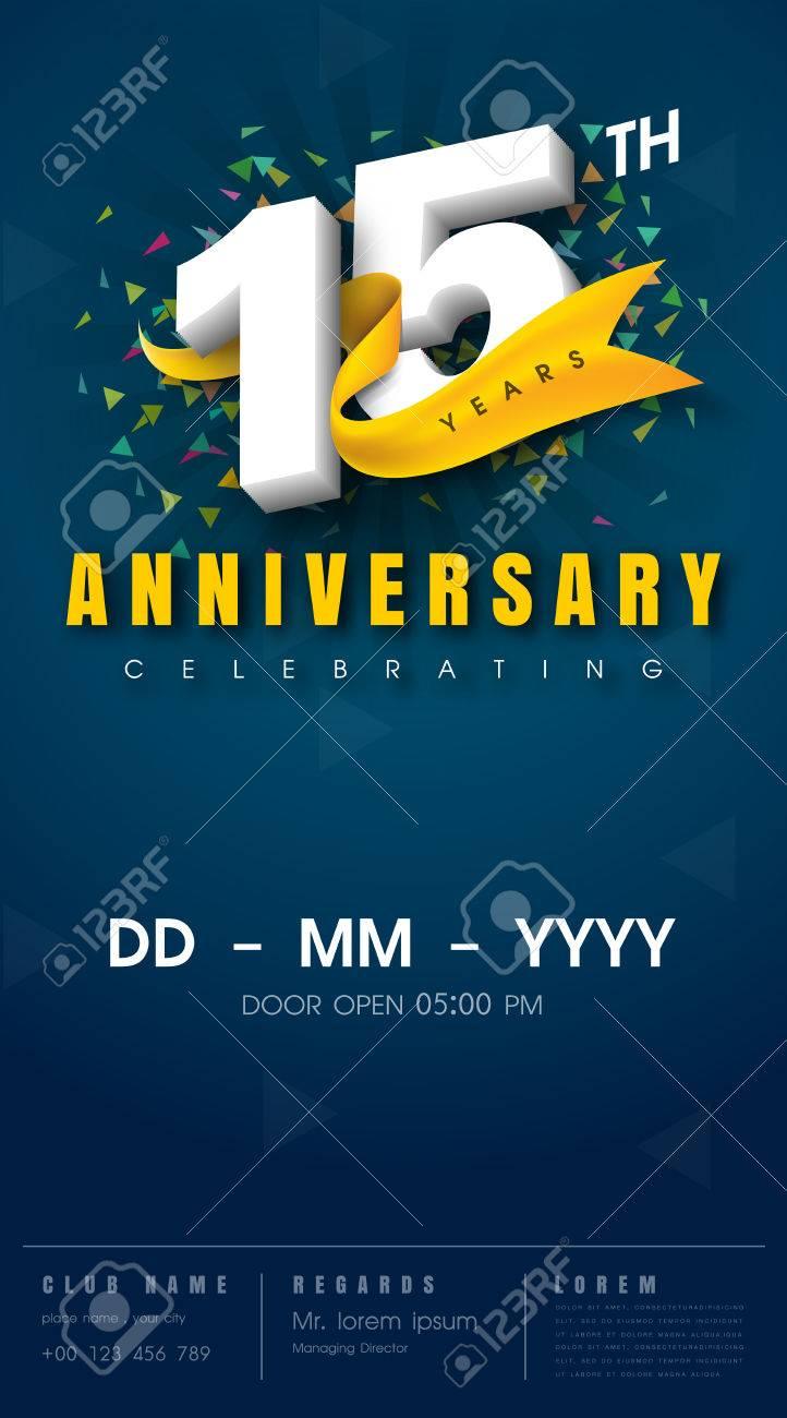 15 years anniversary invitation card - celebration template design , 15th anniversary modern design elements, dark blue background - vector illustration - 68320141