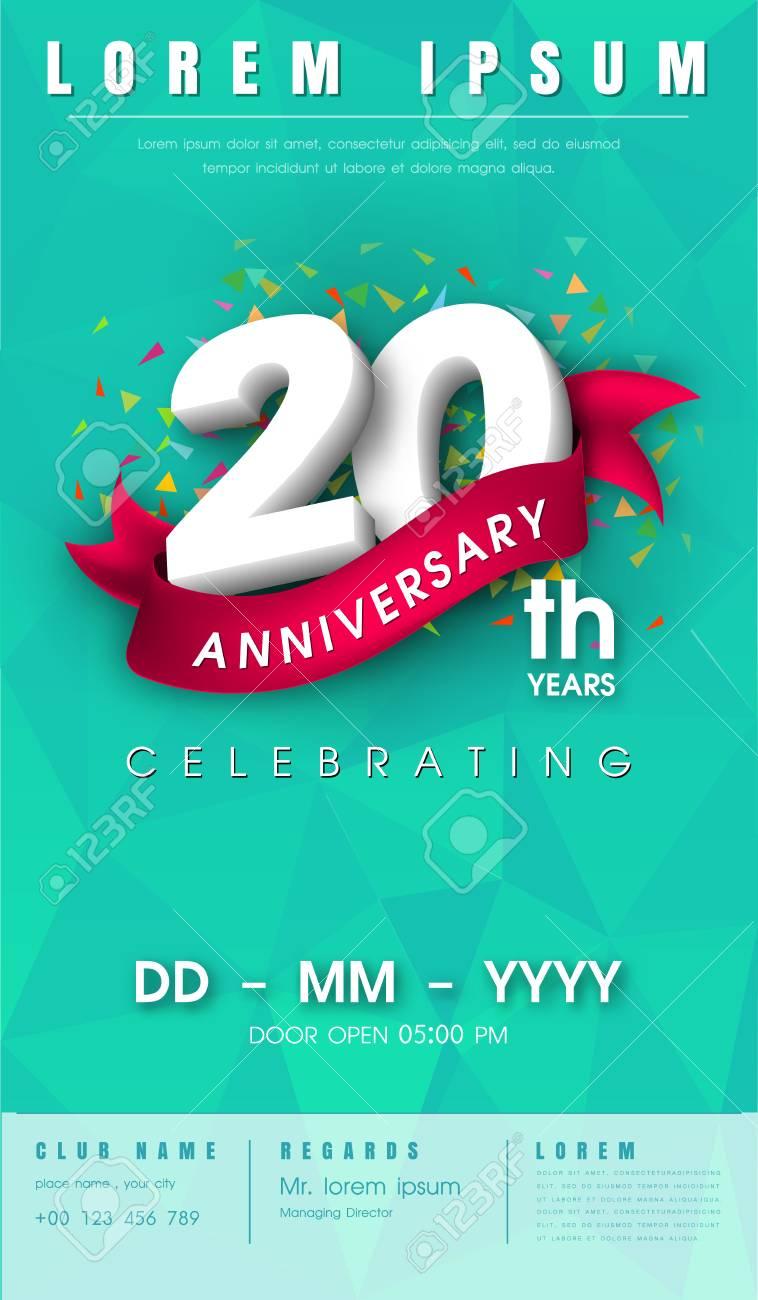 20 Años De Tarjeta De Invitación O Emblema De Aniversario Diseño Celebración Plantilla 20 Aniversario Modernos Elementos De Diseño Con Fondo