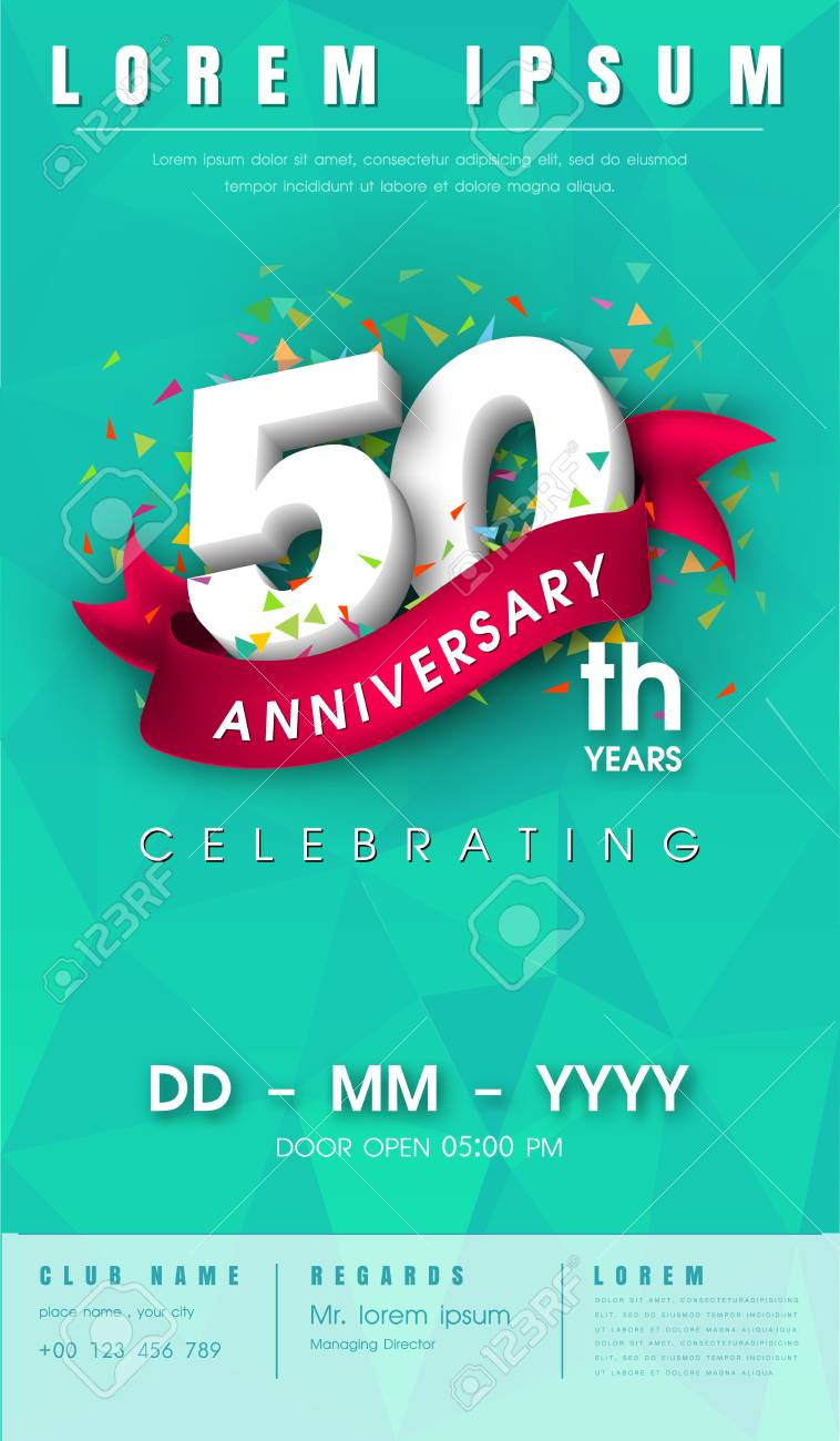 50 Years Anniversary Invitation Card Or Emblem Celebration