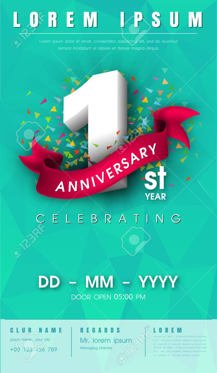1 Year Anniversary Invitation Card Or Emblem Celebration Template