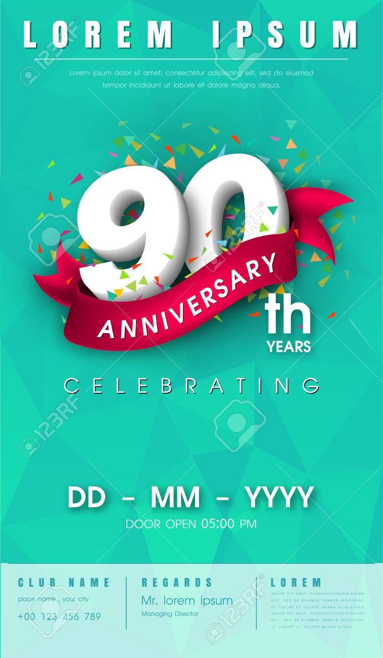 90 Años De Invitación Tarjeta De Invitación O Emblema Diseño Gráfico Plantilla Aniversario 80 Elementos De Diseño Moderno Con El Fondo De La Cinta