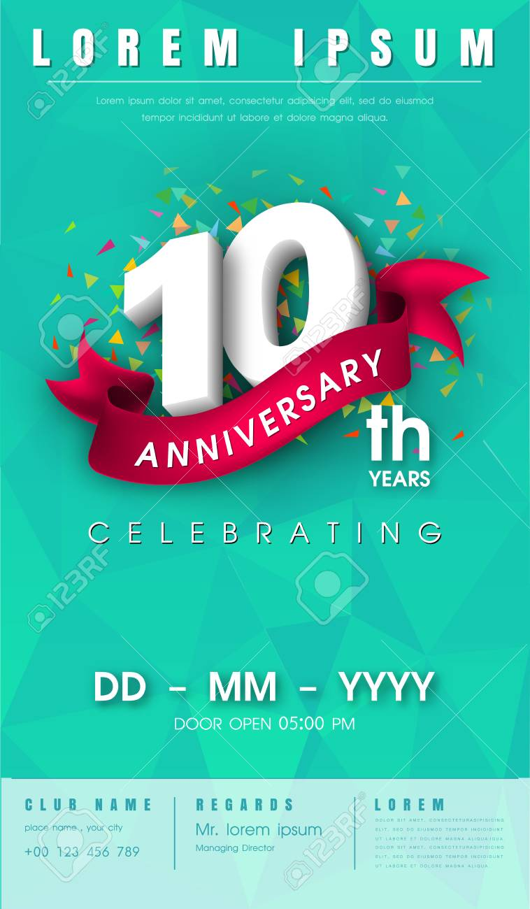 10 Years Anniversary Invitation Card Or Emblem Celebration