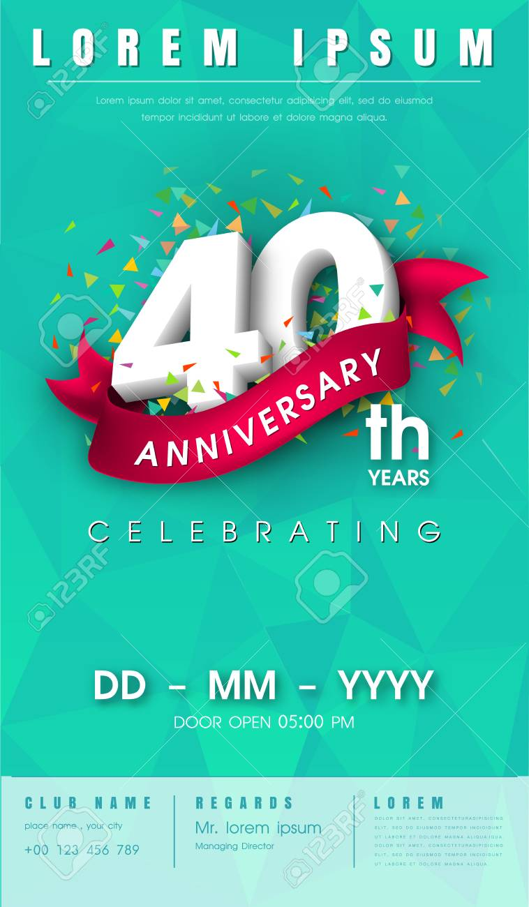 40 Years Anniversary Invitation Card Or Emblem Celebration Royalty Free Cliparts Vectors And Stock Illustration Image 70703110