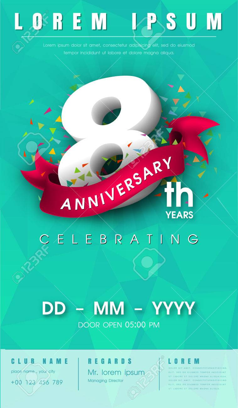 8 years anniversary invitation card or emblem celebration template