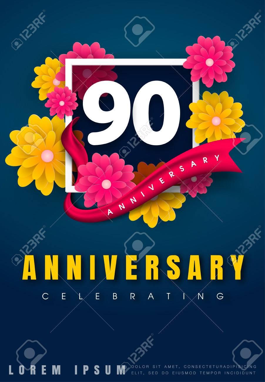 Tarjeta De Invitación De Aniversario De 90 Años Diseño De Plantilla De Celebración 90 Aniversario Con Flores Y Elementos De Diseño Moderno Fondo