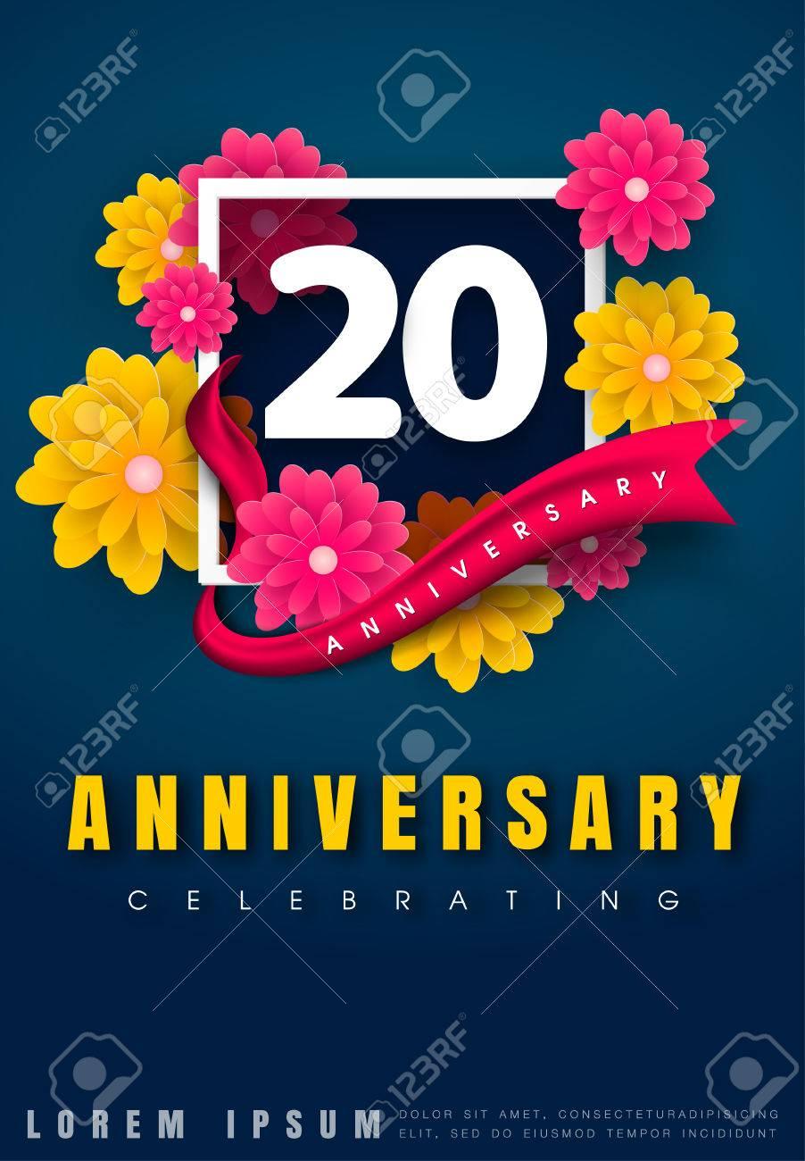 Tarjeta De Invitación De Aniversario 20 Años Diseño De Plantilla De Celebración 20 Aniversario Con Flores Y Elementos De Diseño Moderno Fondo Azul