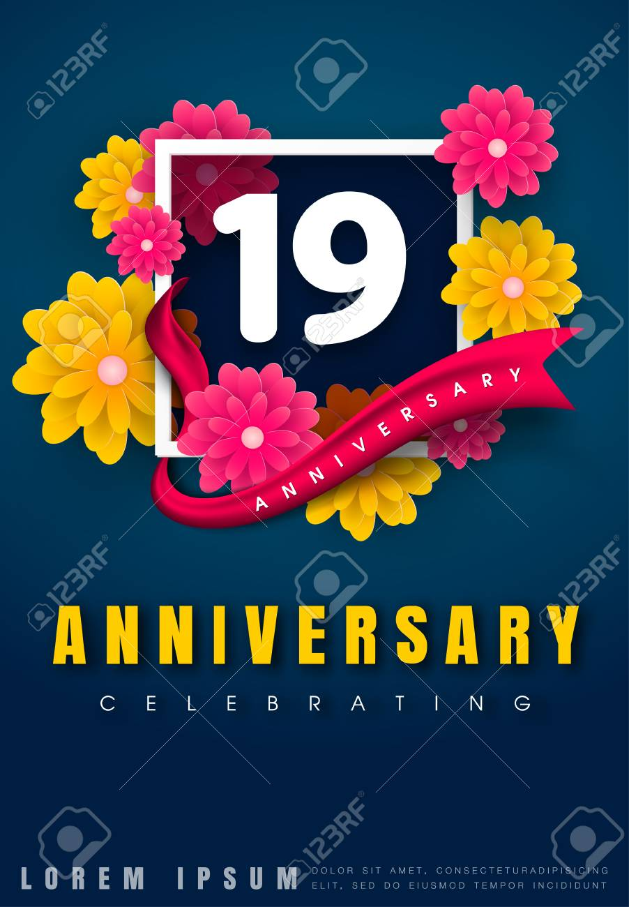 19 Years Anniversary Invitation Card - Celebration Template Design ...