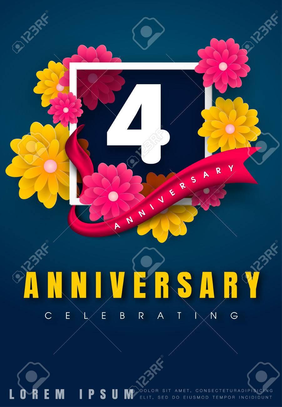 4 Years Anniversary Invitation Card Celebration Template Design