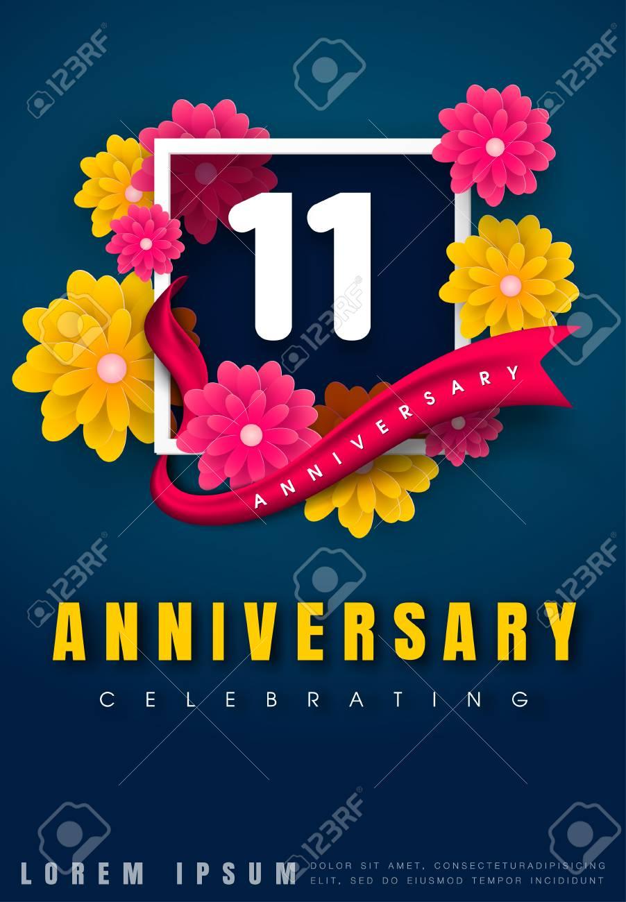 11 years anniversary invitation card celebration template design