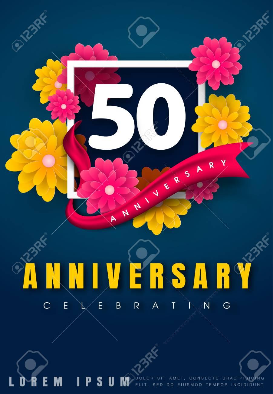 50 Years Anniversary Invitation Card Celebration Template Design