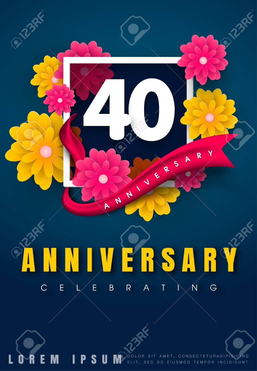 Fiori 40 Anni.40 Years Anniversary Invitation Card Celebration Template Design