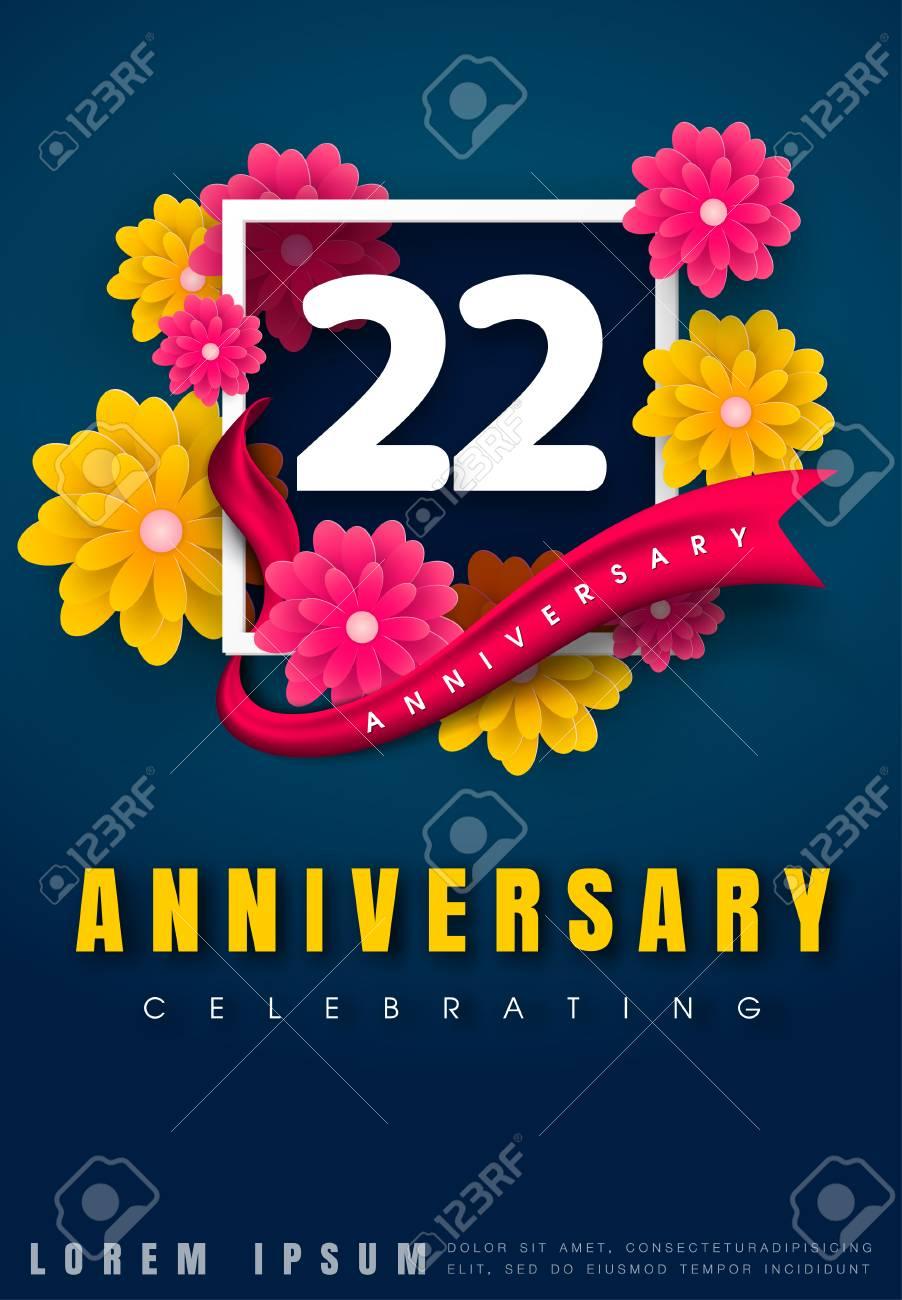 Tarjeta De Invitación De Aniversario De 22 Años Diseño De Plantilla De Celebración 22 Aniversario Con Flores Y Elementos De Diseño Moderno Fondo