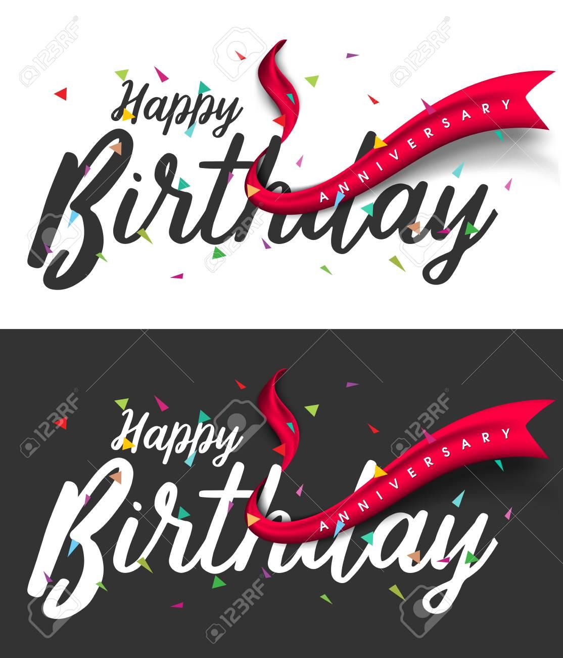 Happy Birthday Typographic Vector Design For Greeting Card Birthday