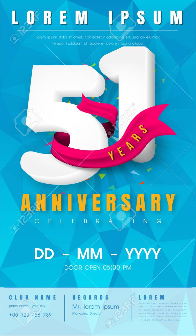 51st Anniversary Modern Design Elements With Background Polygon ...