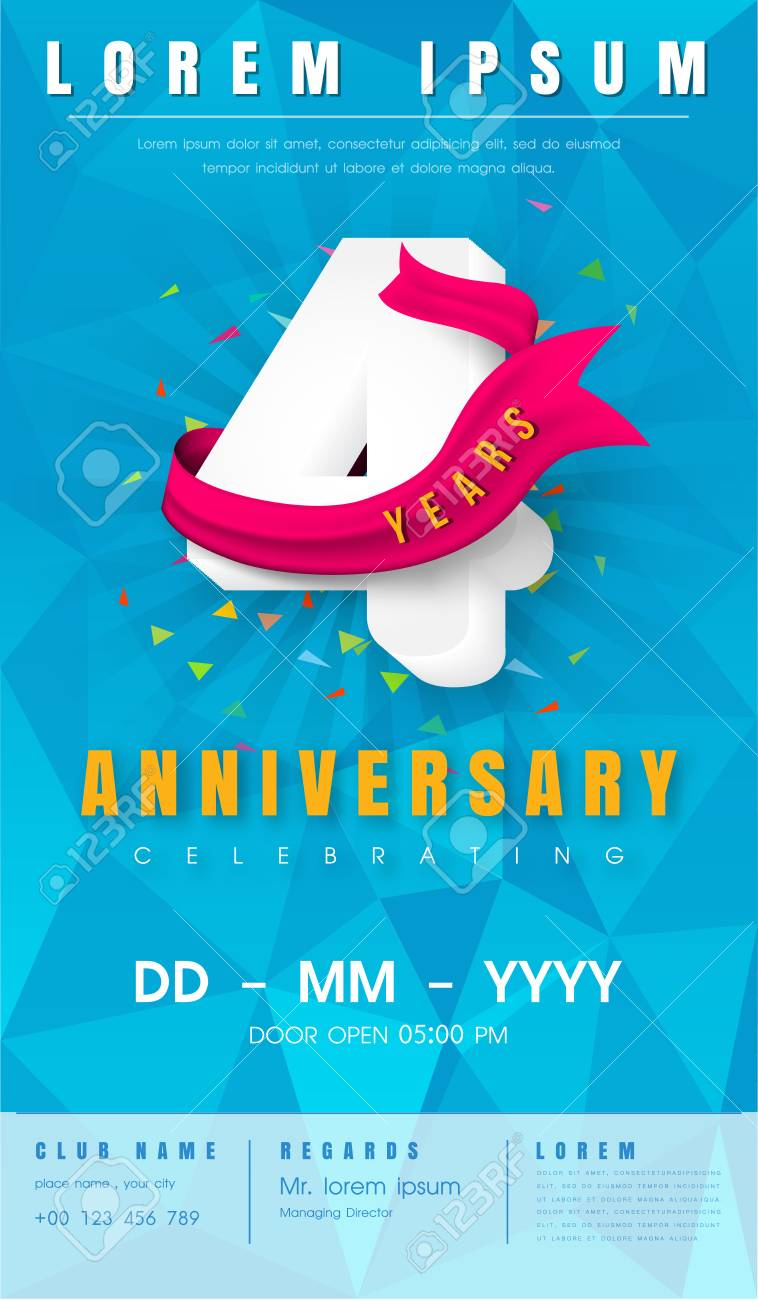4th Anniversary Modern Design Elements With Background Polygon ...