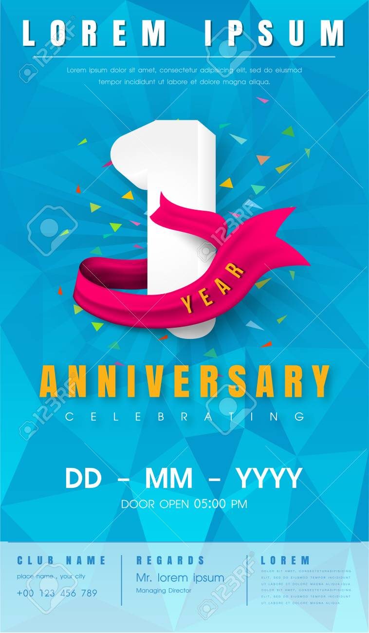 1 year anniversary invitation card or emblem celebration template 1 year anniversary invitation card or emblem celebration template design 1st anniversary modern design stopboris Image collections