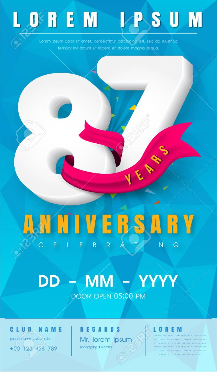87 years anniversary invitation card or emblem celebration 87 years anniversary invitation card or emblem celebration template design 87th anniversary modern design stopboris Image collections