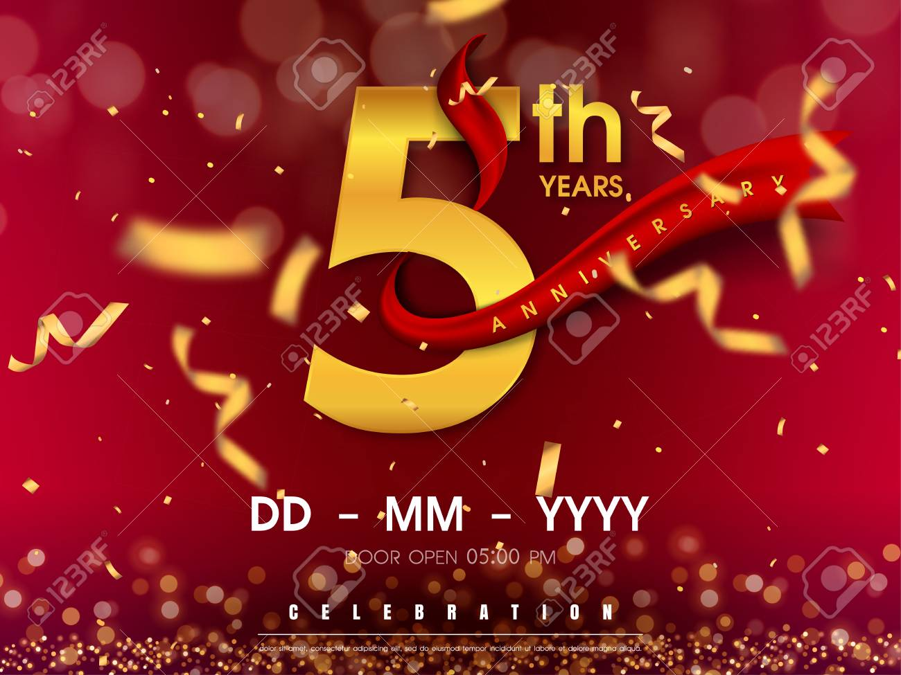 5 years anniversary logo template on gold background. 5th celebrating golden numbers with red ribbon vector and confetti isolated design elements - 118534275