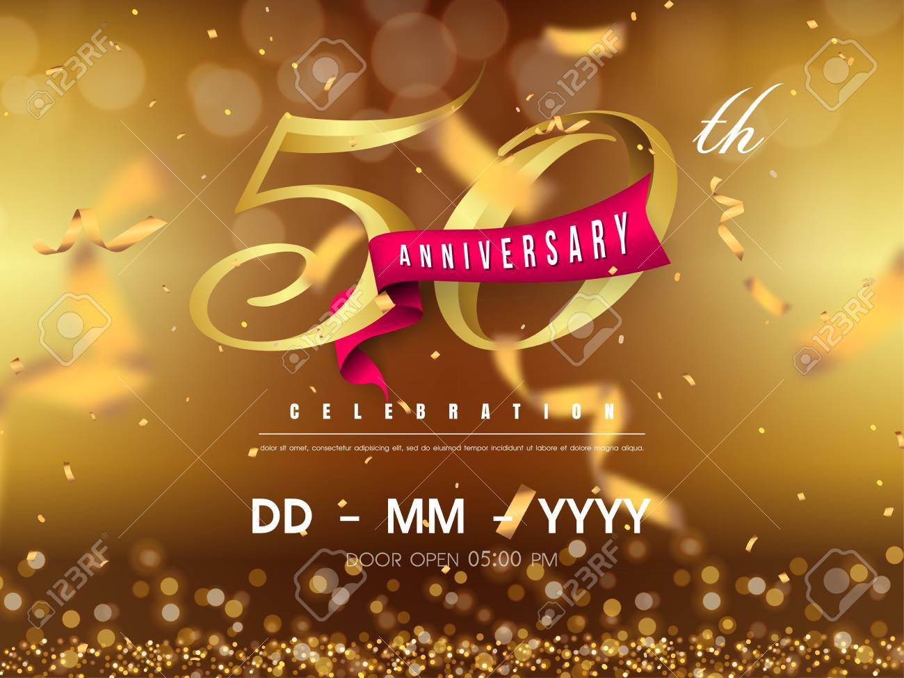 50 years anniversary logo template on gold background. 50th celebrating golden numbers with red ribbon vector and confetti isolated design elements - 118534462