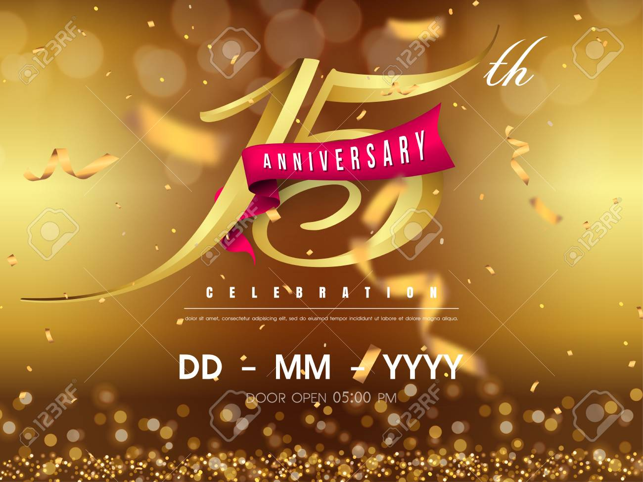 15 years anniversary logo template on gold background. 15th celebrating golden numbers with red ribbon vector and confetti isolated design elements - 118534794