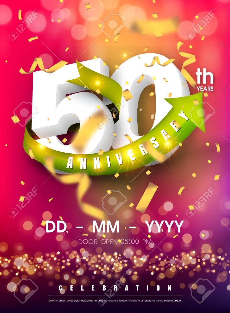50 Years Anniversary Invitation Card Celebration Templatedesign