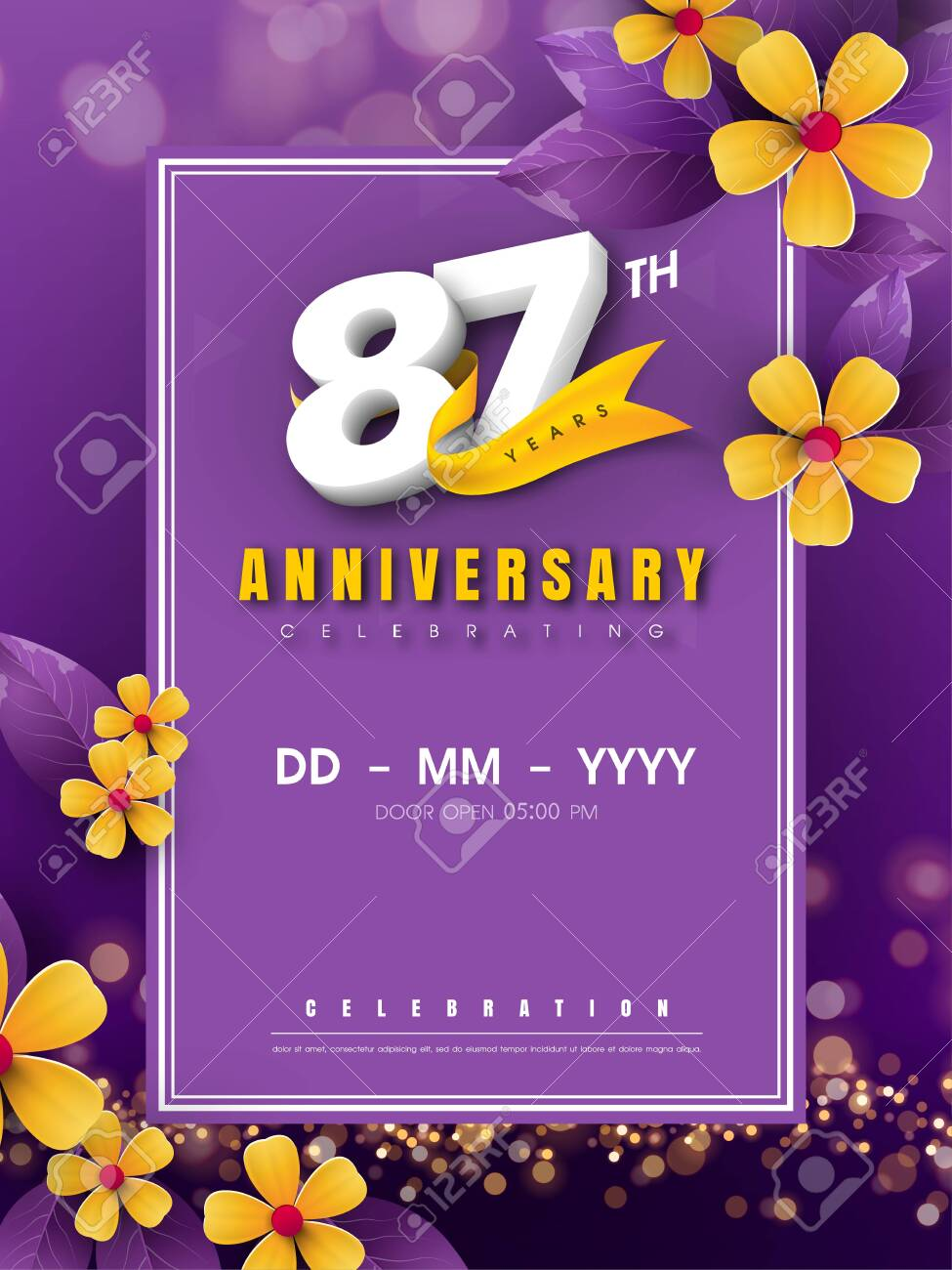 87 Years Anniversary Template On Golden Flower And Purple Background