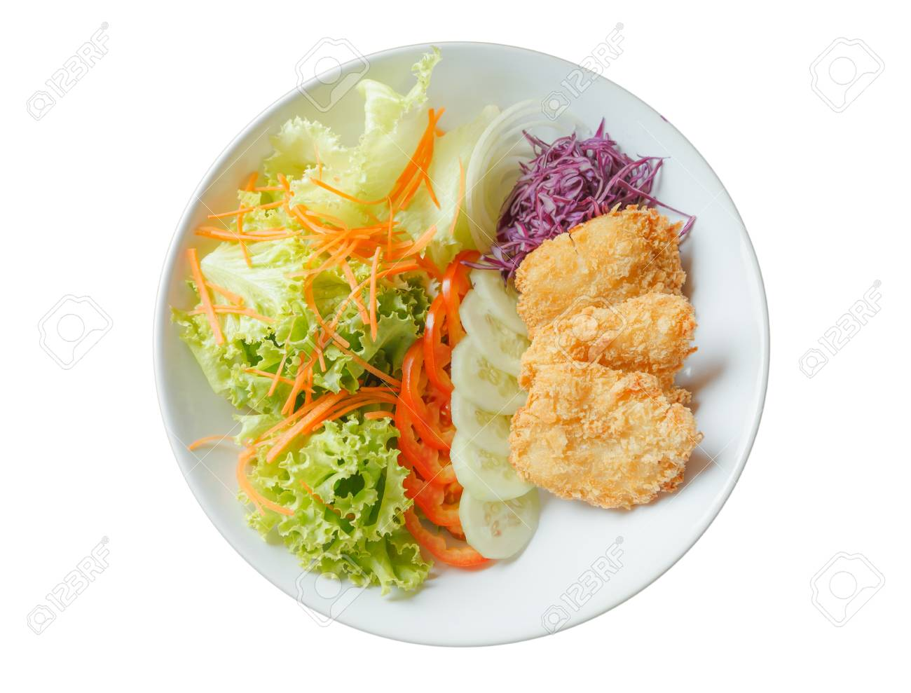 Breaded Fried Fish Salad isolated on white background Stock Photo - 16536605