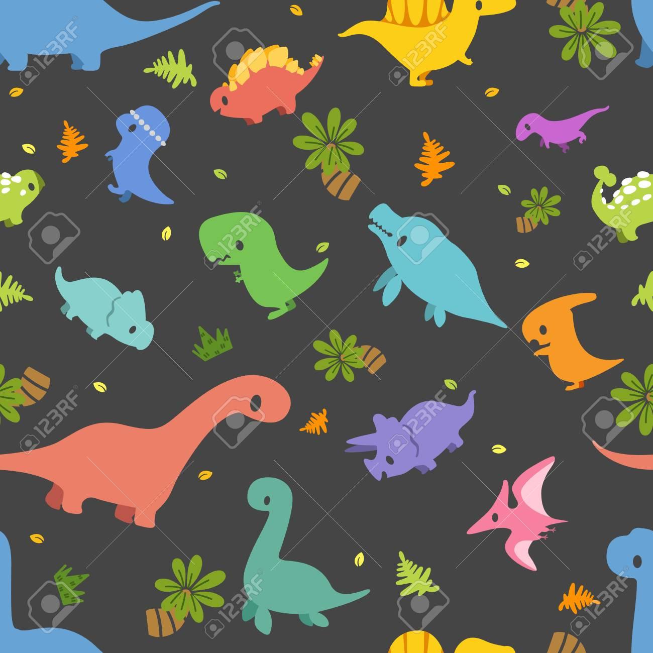 Dinosaur Vector Seamless Pattern Different Type Of Cute Cartoon