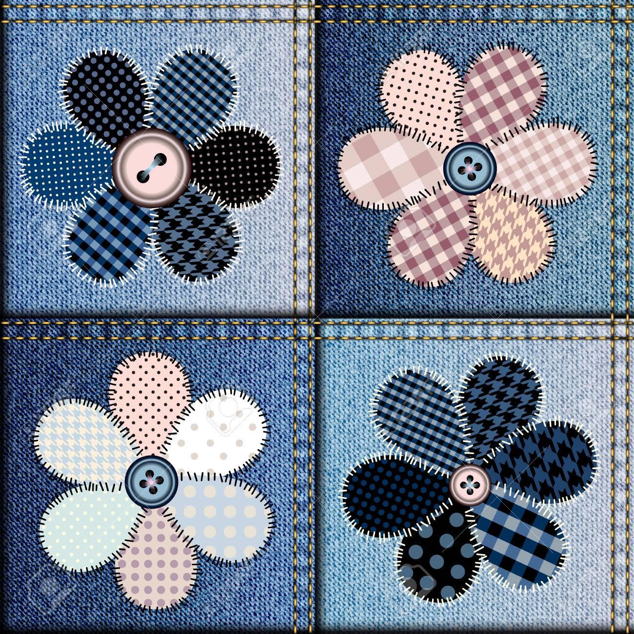 Картина из цветов из джинса