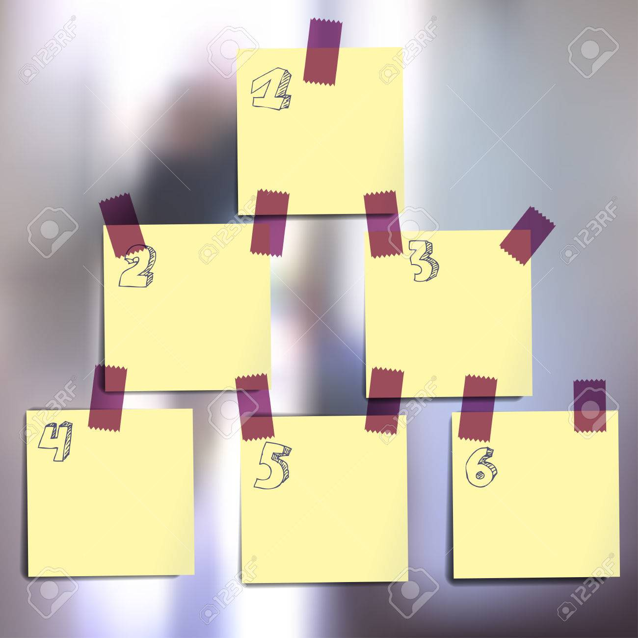 Sticky notes wallpapers on blurred vector background. Original infographics with the numbers of stages Stock