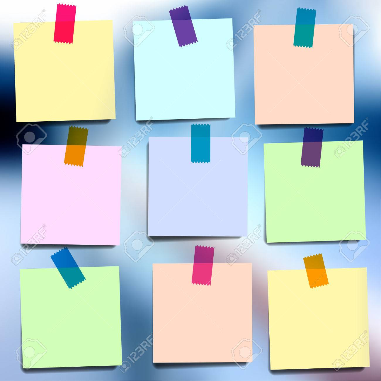Sticky notes wallpapers on blurred vector background Stock Vector - 40380476