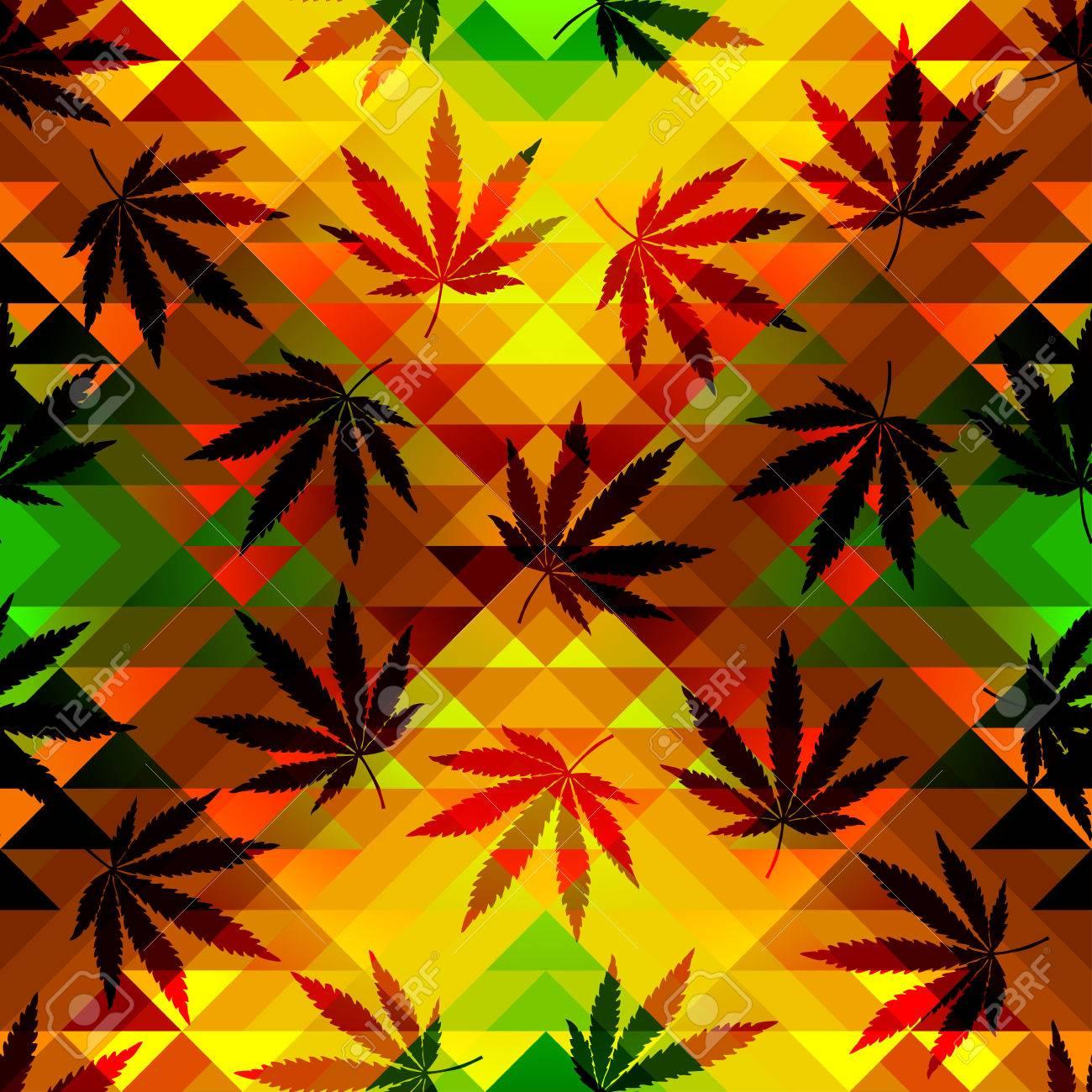 Seamless pattern of the hemp leaves on geometric background. - 44411113
