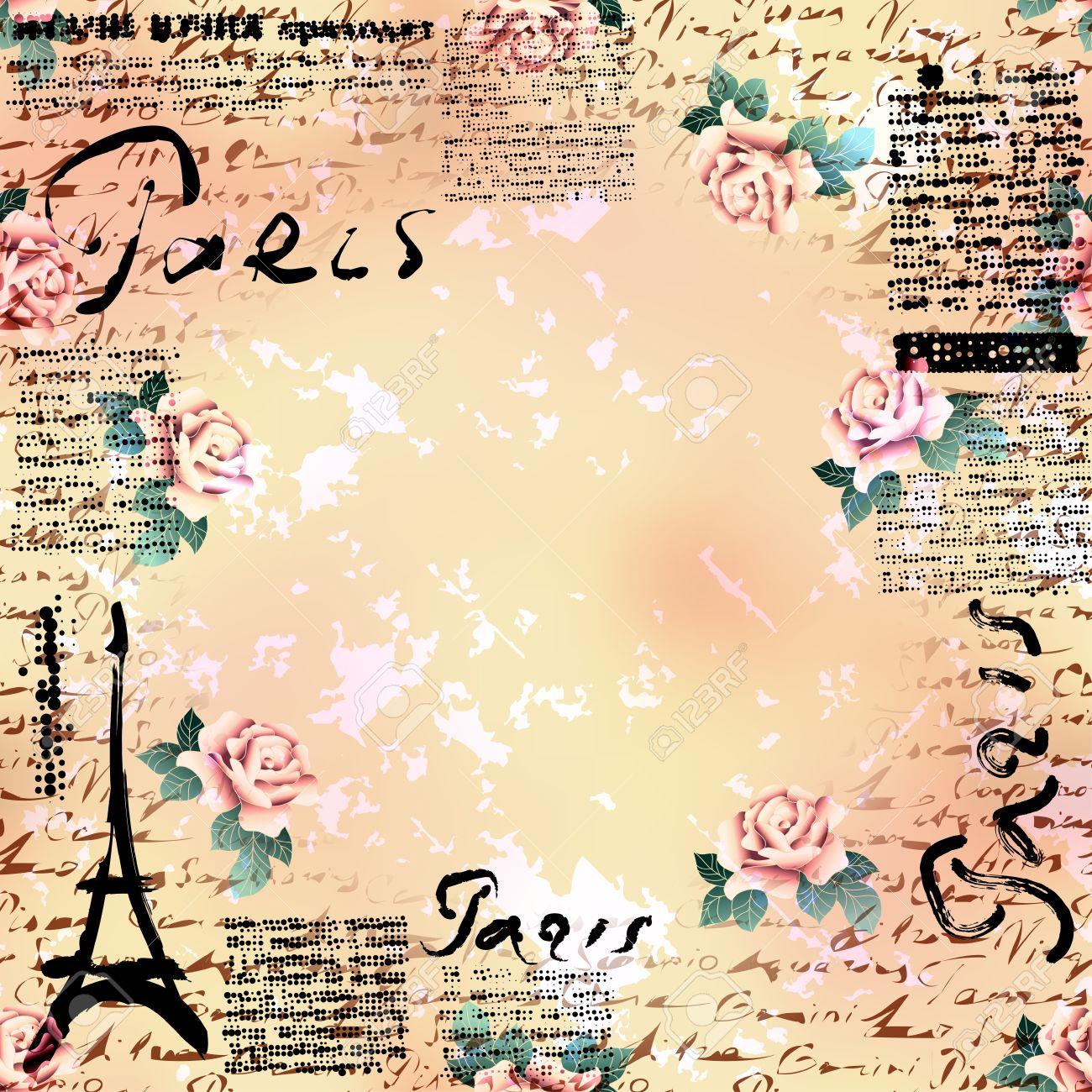 Bordered Background. Grunge Vintage Frame Paris In Scrapbook ...