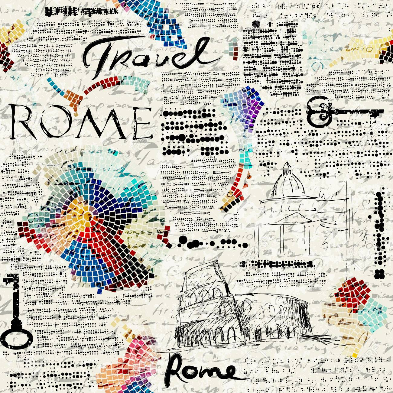 Imitation of retro newspaper background Rome travel - 47826881