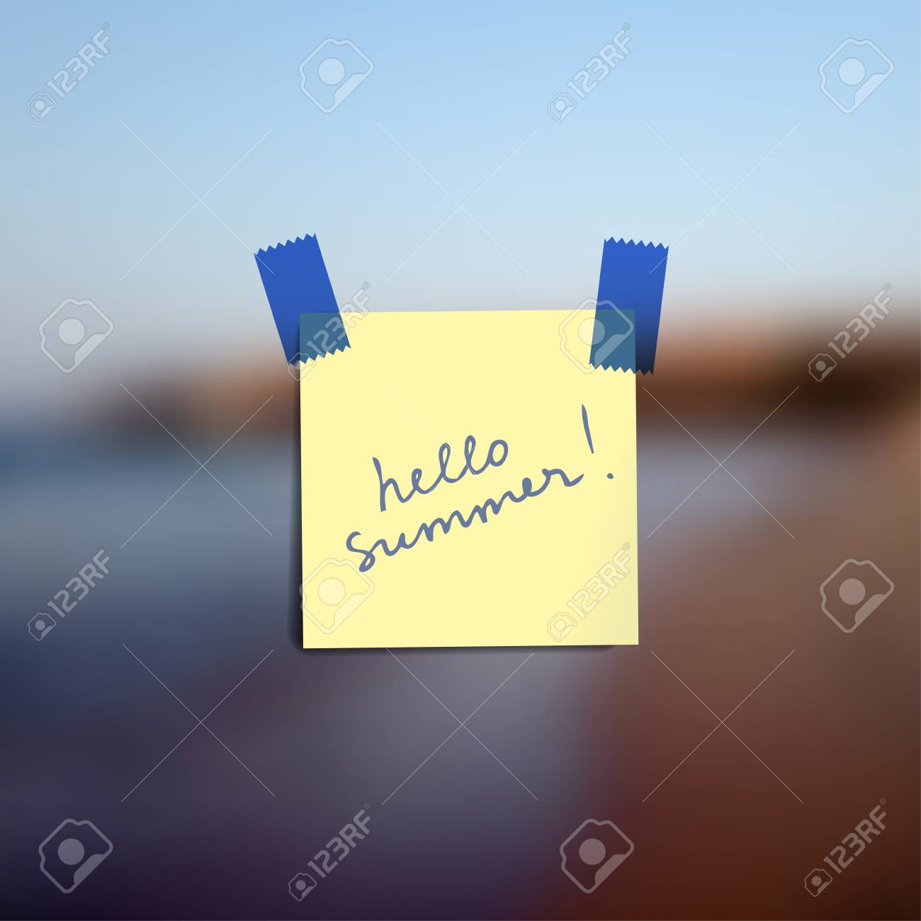 Sticky notes wallpaper on blurred vector background with lettering Hello summer Stock Vector - 59672721