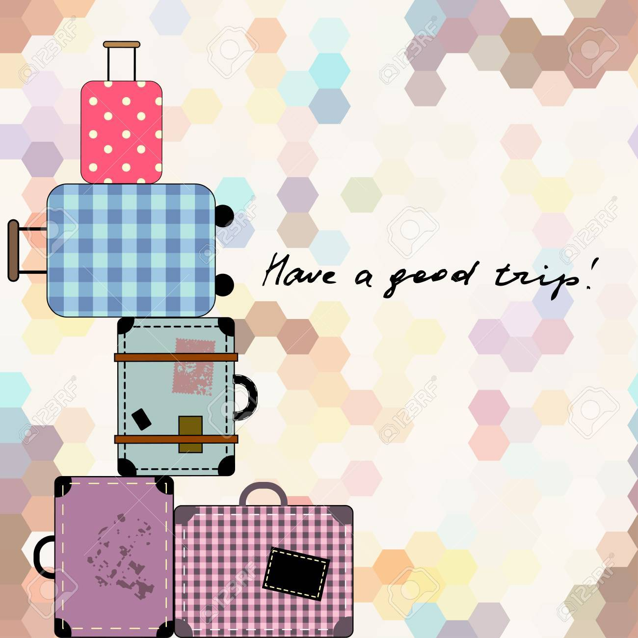 vector background with suitcases and lettering have a good trip