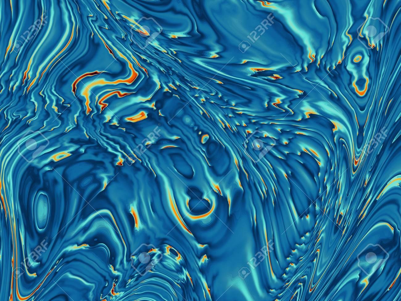 Abstrait Bleu Ondulé Dans Le Style De L Art Numérique Peut être Utilisé Comme Fond D écran Imitation De Marbre