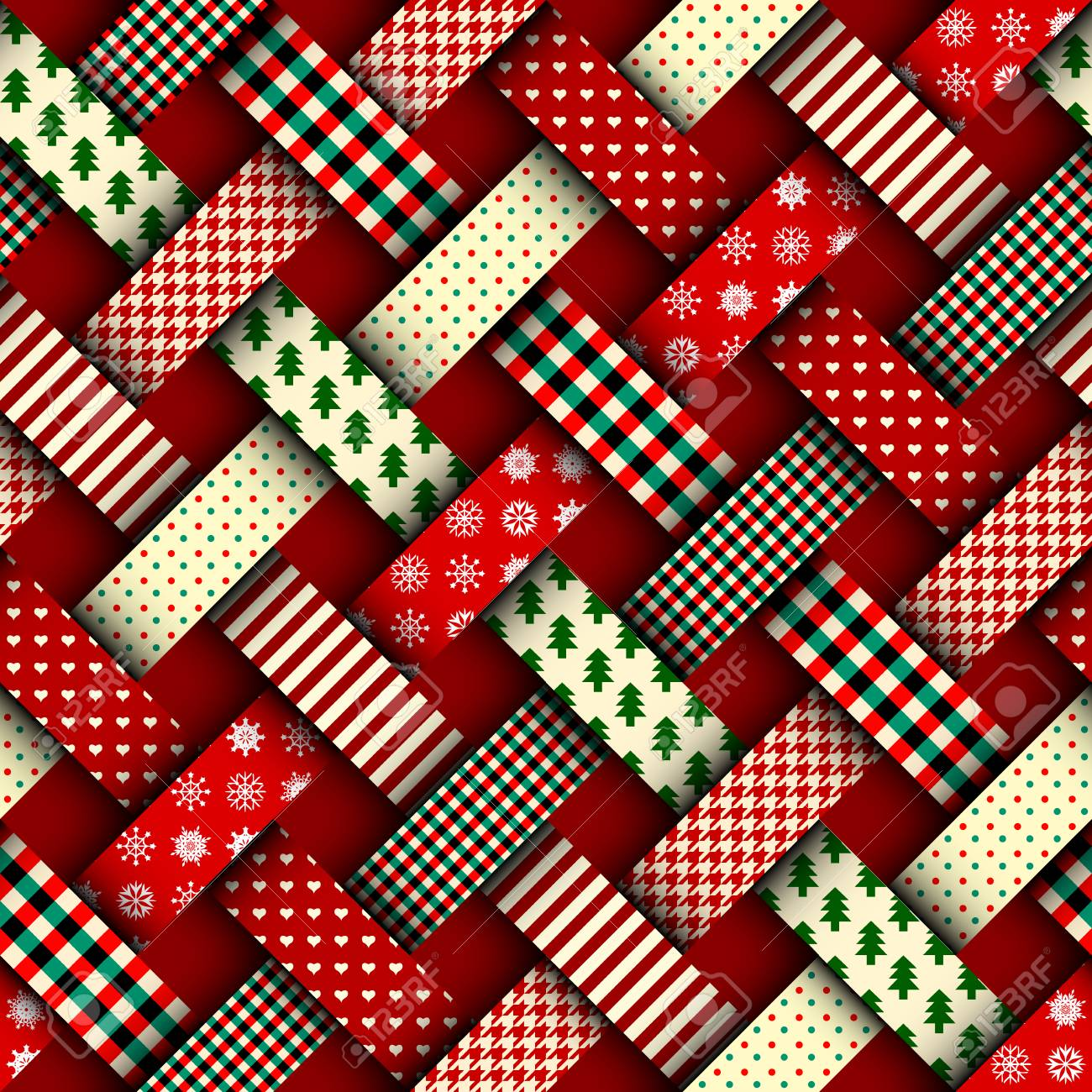 Seamless Christmas background in patchwork style. Interweaving ribbons with Christmas patterns on red background. - 88482866