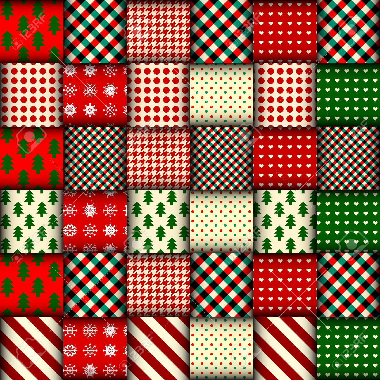 Seamless Christmas background in patchwork style. Interweaving ribbons with Christmas patterns on red background. - 87566218